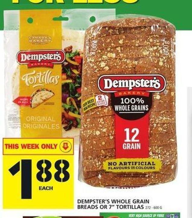 Dempster's Whole Grain Breads Or 7in Tortillas