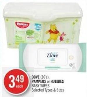 Dove (30's) - Pampers or Huggies Baby Wipes