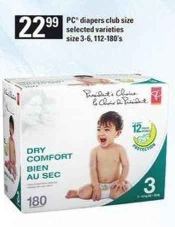 PC Diapers Club Size - 3-6 - 112-180's