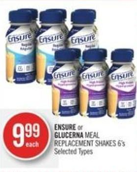 Ensure or Glucerna Meal Replacement Shakes