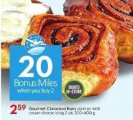 Gourmet Cinnamon Buns Plain or With Cream Cheese Icing 2 Pk 320-400 g - 20 Air Miles Bonus Miles