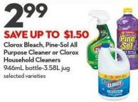 Clorox Bleach - Pine-sol All Purpose Cleaner or Clorox Household Cleaners 946ml Bottle-3.58l Jug