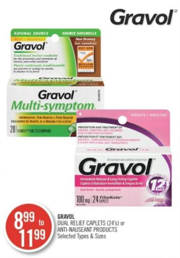 Gravol Dual Relief Caplets (24's) or Anti-nauseant Products