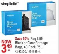 Simplicite Black or Clear Garbage Bags - 40-pack