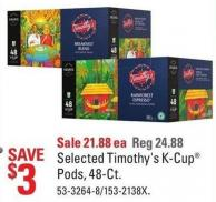 Selected Timothy's K-cup Pods - 48-ct