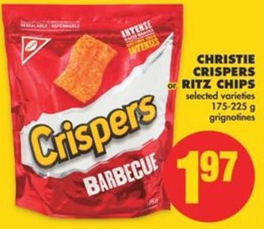 Christie Crispers or Ritz Chips - 175-225 g