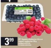 PC Organics Blueberries - 9.8 Oz Or Organic Raspberries - 170 g