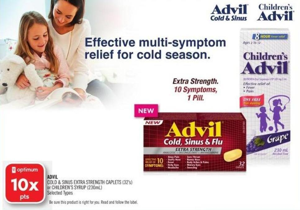 Advil Cold & Sinus Extra Strength Caplets (32's) or Children's Syrup (230ml)