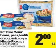 PC Blue Menu Beans - Peas - Lentils Or Soup Mix 900 g Or Minute Rice 250 g