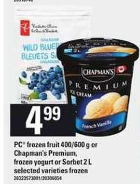 PC Frozen Fruit - 400/600 G Or Chapman's Premium - Frozen Yogurt Or Sorbet - 2 L