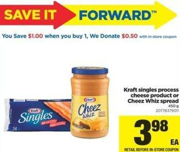 Kraft Singles Process Cheese Product Or Cheez Whiz Spread - 450 G