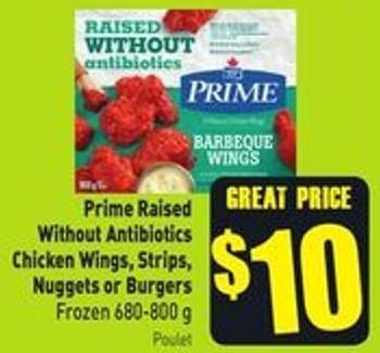 Prime Raised Without Antibiotics Chicken Wings - Strips - Nuggets or Burgers Frozen 680-800 g