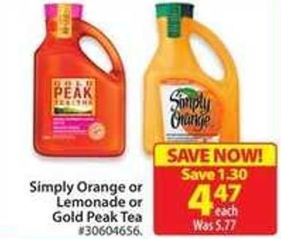Simply Orange or Lemonade or Gold Peak Tea