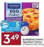 Burnbrae Farms Egg Bakes! Patties or Quiche 190-212 g - 5 Air Miles Bonus Miles