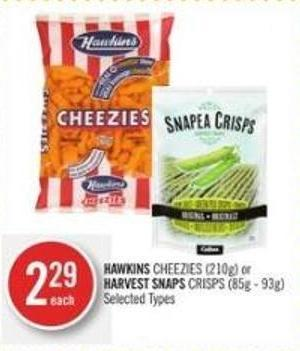 Hawkins Cheezies (210g) or Harvest Snaps Crisps (85g - 93g)