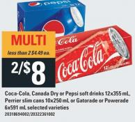 Coca-cola - Canada Dry Or Pepsi Soft Drinks 12x355 Ml - Perrier Slim Cans 10x250 Ml Or Gatorade Or Powerade 6x591 Ml