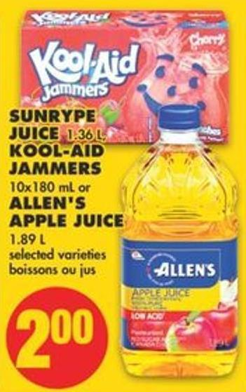 Sunrype Juice 1.36 L - Kool-aid Jammers 10x180 mL or Allen's Apple Juice 1.89 L