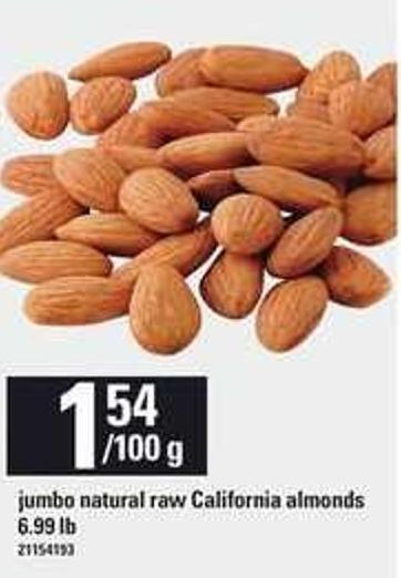 Jumbo Natural Raw California Almonds