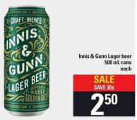 Innis & Gunn Lager Beer 500 Ml Cans