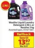 Woolite Liquid Laundry Detergent 2.96 L or Resolve 3 Kg