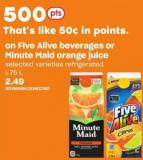 Five Alive Beverages Or Minute Maid Orange Juice - 1.75 L