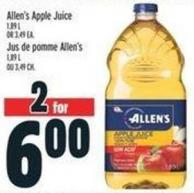Allen's Apple Juice 1.89 L or 3.49 Ea.