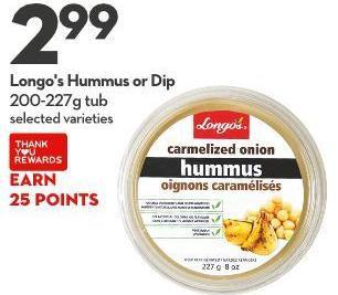 Longo's Hummus or Dip 200-227g Tub