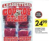 Leadbetters Cowboy Steaks 8 Pk 1.8 Kg