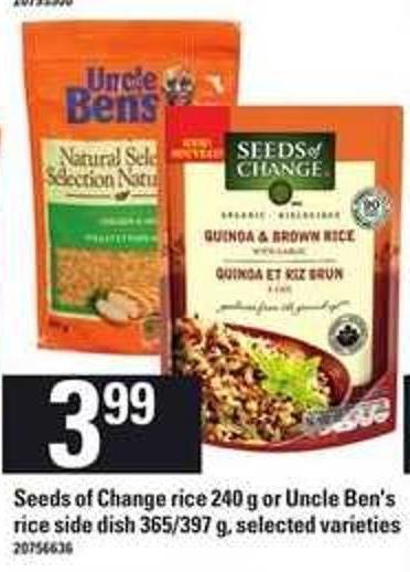 Seeds Of Change Rice - 240 G Or Uncle Ben's Rice Side Dish - 365/397 G