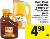 Gold Peak Iced Tea - Simply Or Tropicana Juice - 2.63 L