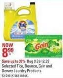 Selected Tide - Bounce - Gain and Downy Laundry Products