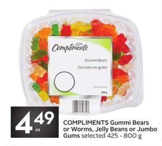 Compliments Gummi Bears or Worms - Jelly Beans or Jumbo Gums