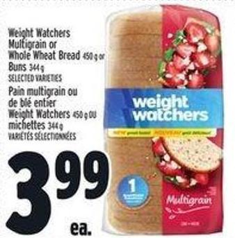 Weight Watchers Multigrain or Whole Wheat Bread 450 g or Buns 344 g