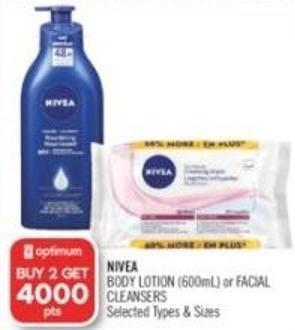 Nivea Body Lotion (600ml) or Facial Cleansers