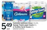 Cashmere Bathroom Tissue 12=24 - Sponge Towels Paper Towels 6's Or Scotties Facial Tissues 6's