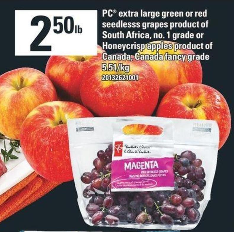 PC Extra Large Green Or Red Seedlesss Grapes Or Honeycrisp Apples