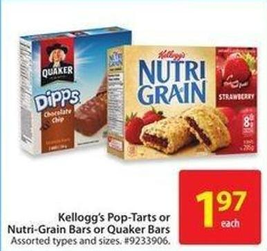 Kellogg's Pop-tarts or Nutri-grain Bars or Quaker Bars
