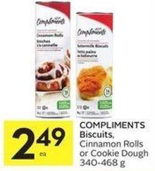 Compliments Biscuits - Cinnamon Rolls or Cookie Dough 340-468 g