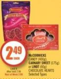 Mccormicks Candy (400g) - Carnaby Sweet (175g) or Lindt (40g) Chocolate Hearts