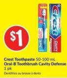 Crest Toothpaste 50-100 mL Oral-B Toothbrush Cavity Defense 1 Pk