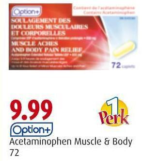 Option+ Acetaminophen Muscle & Body 72