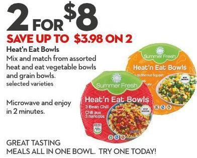 Heat'n Eat Bowls Mix and Match From Assorted  Heat and Eat Vegetable Bowls  and Grain Bowls. Selected Varieties