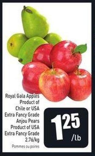 Royal Gala Apples Product of Chile or USA Extra Fancy Grade Anjou Pears Product of USA Extra Fancy Grade 2.76/kg
