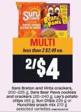 Dare Breton And Vinta Crackers - 200-225 G - Dare Bear Paws Cookies And Crackers 120-240 G - Lay's Potato Chips 165 G - Sun Chips 225 G Or Munchies Snack Mix 272 G