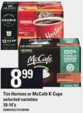 Tim Hortons Or Mccafé K-cups - 10-14's