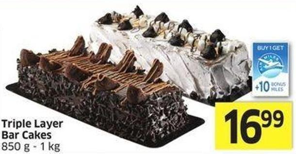 Triple Layer Bar Cakes 850 g - 1 Kg - 10 Air Miles Bonus Miles
