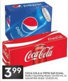 Coca-cola or Pepsi Soft Drinks - Bubly Sparkling Water 12x355 mL or Aquafina Water 12x500 mL
