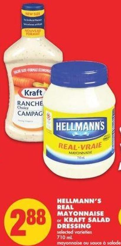 Hellmann's Real Mayonnaise Or Kraft Salad Dressing - 710 Ml