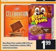 Dare Bear Paw Cookies 240-275 g or Leclerc Celebration Cookies 240 g