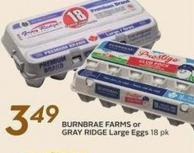 Burnbrae Farms or Gray Ridge Large Eggs 18 Pk